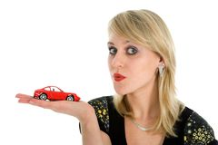 Business woman advertises  the cars Royalty Free Stock Photos
