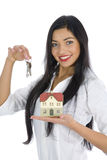 Business woman advertises real estate Royalty Free Stock Image