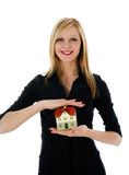 Business woman advertises real estate Stock Images