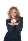 Business woman advertises real estate Royalty Free Stock Photos