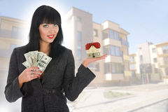 Business woman advertises real estate Stock Photography