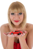 Business woman advertises selling the cars Royalty Free Stock Images