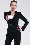 Business woman advertises service Stock Photos
