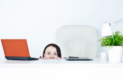 Business woman afraid Royalty Free Stock Photo
