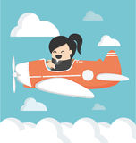 Business woman on airplane Vector Royalty Free Stock Image