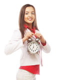 The business woman with an alarm clock Royalty Free Stock Image