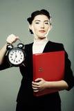 The business woman with an alarm clock Stock Photos