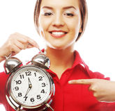 The business woman with an alarm clock Royalty Free Stock Images