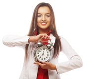 The business woman with an alarm clock Stock Photo