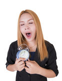 Business woman with alarm clock Stock Photography
