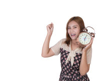 Business woman with alarm clock Stock Photo