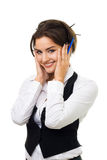 Business woman with amazing smile holding cheeks Royalty Free Stock Images