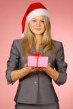 Business-woman & presentes Fotografia de Stock Royalty Free