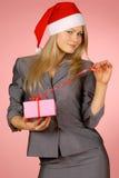 Business-woman & presentes Imagens de Stock Royalty Free