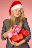 Business-woman & regali Immagini Stock