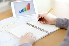 A business woman analysis with financial graph at office, workplac Stock Images