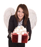 Business woman angel with christmas red box.
