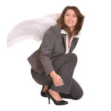 Business woman with angel wing. Stock Images