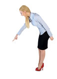 Business woman angry pointing down Royalty Free Stock Images