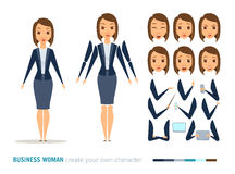 Business woman animation. Businesswoman character animation and creation set. Woman with phone, tablet, pointer. Parts of body for design you scene. Faces Royalty Free Stock Image