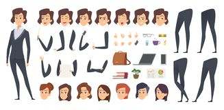Business woman animation. Creation kit female manager body parts and office tools vector character constructor. Businesswoman and lady business face and pose stock illustration