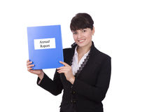Business woman with annual report. Happy successful business woman is annual report. Brunette businesswoman dressed in black suit with yearly report. Isolated royalty free stock photos