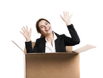 Business woman appear inside a big card box Royalty Free Stock Image