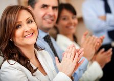 Business woman applauding Stock Image