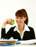 Business woman with apple Stock Photo