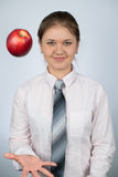 Business woman with apple Royalty Free Stock Photos