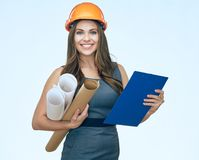 Business woman architect holding blueprints and clipboard. Isola. Ted portrait. Student girl Royalty Free Stock Photo