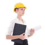 Business woman architect in yellow builder helmet isolated on wh Royalty Free Stock Photo