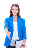 Business woman with arm extended for a handshake Stock Photography