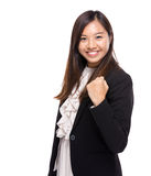 Business woman with arm fist up Royalty Free Stock Images