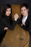 Business Woman Arm Wrestle Professional Contest Stock Images