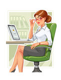 Business woman in armchair with laptop Stock Photography