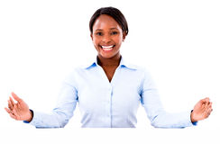 Business woman with arms open Royalty Free Stock Photography