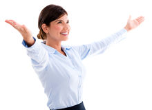 Business woman with arms open Stock Images