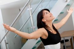 Business woman with arms opened Stock Photo