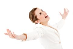Business woman with arms opened Stock Photography