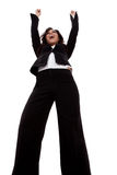 Business woman with arms raised Royalty Free Stock Images