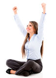 Business woman with arms up Royalty Free Stock Image