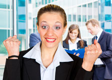 Business woman with arms up Royalty Free Stock Photos