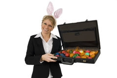 Business Woman as Easter Bunny!. Business woman with ears. As Easter Bunny.With suitcase Stock Photos