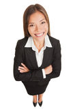 Business woman - Asian businesswoman portrait. Business woman. Asian businesswoman portrait of smiling young professional in suit. High angle view of proud royalty free stock images