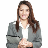 Business woman asian office gesture attractive standing holding Royalty Free Stock Photo