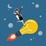 Business woman astronaut on a moving lightbulb idea rocket Stock Photography