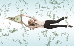 Business woman attached to her savings Royalty Free Stock Image