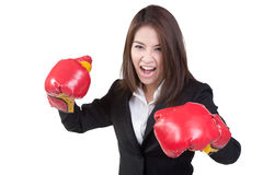 Business woman Attractive Boxing glove suit isolated. Business woman Attractive Boxing glove in suit isolated Stock Photo