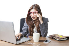 Business woman attractive enjoy with listening music drinking co Stock Photos